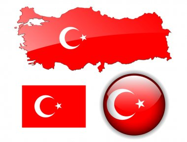 Turkey, Turkish flag, map and button.