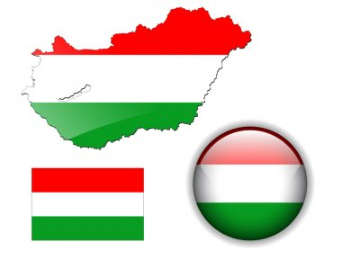 Hungary flag, map and glossy button.