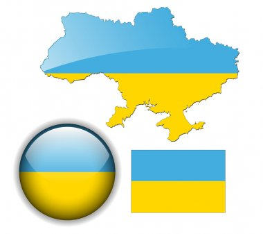 Ukraine flag, map and glossy button.