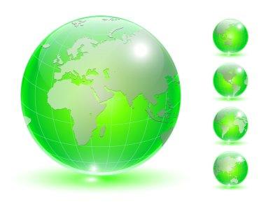 Earth globe set vector.