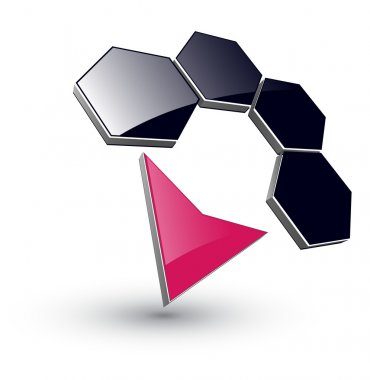 Logo 3d hexagons and arrow