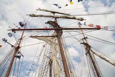 Rigging of big sailing ship