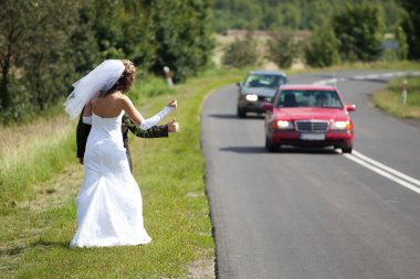 Just married couple trying to hitchhike