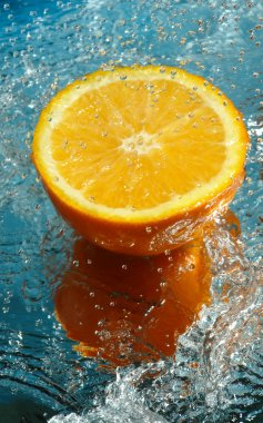 Part of fresh orange in water