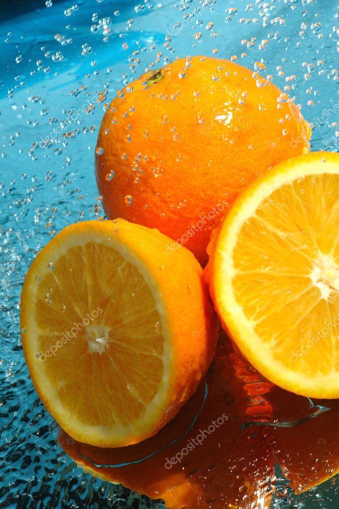 Beauty fresh orange in water