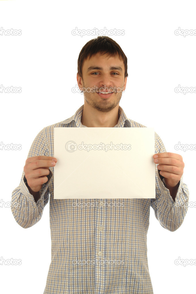 Young man holding white blank cardboard
