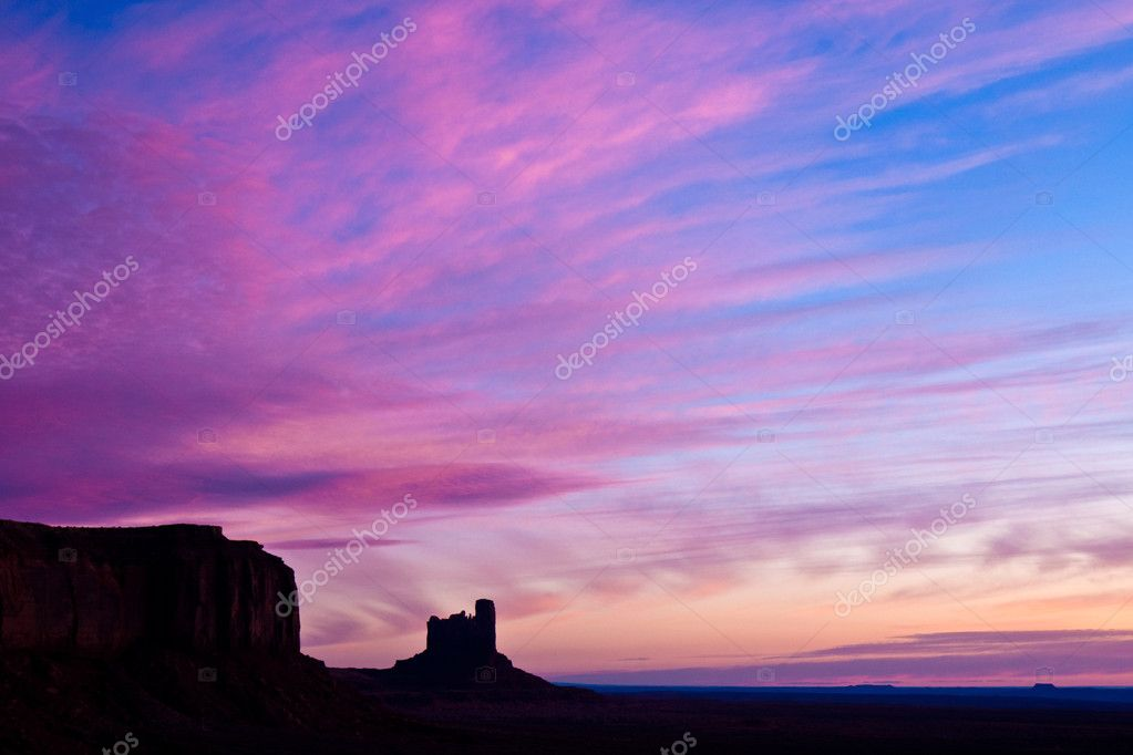 Pink Sky over Monument Valley