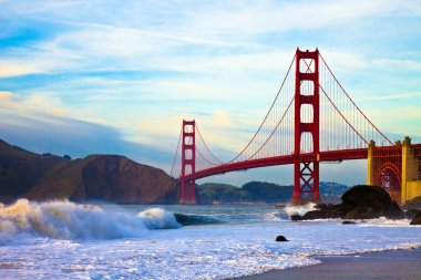 Golden Gate bridge at sunset seen from Marshall Beach, San Francisco. stock vector