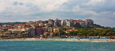 Beach and town of Sozopol, Bulgaria. stock vector