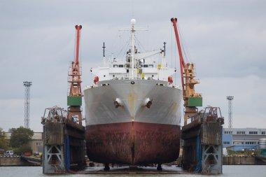 Vessel in dry dock