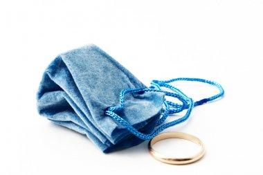 """Картина, постер, плакат, фотообои """"голубая подарочная сумка с обручальным кольцом """", артикул 2107476"""