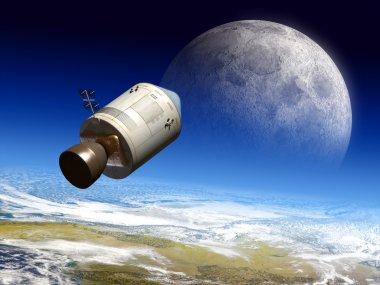 Apollo module flying to the moon