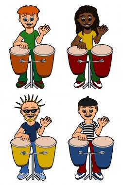 Men percussionists playing congas
