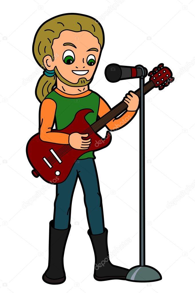 Guitarrista y cantante de dibujos animados — vector