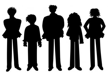 Cartoon eople silhouettes