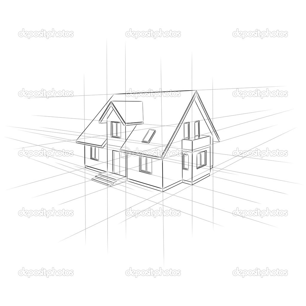 Drawing home on white background stock vector