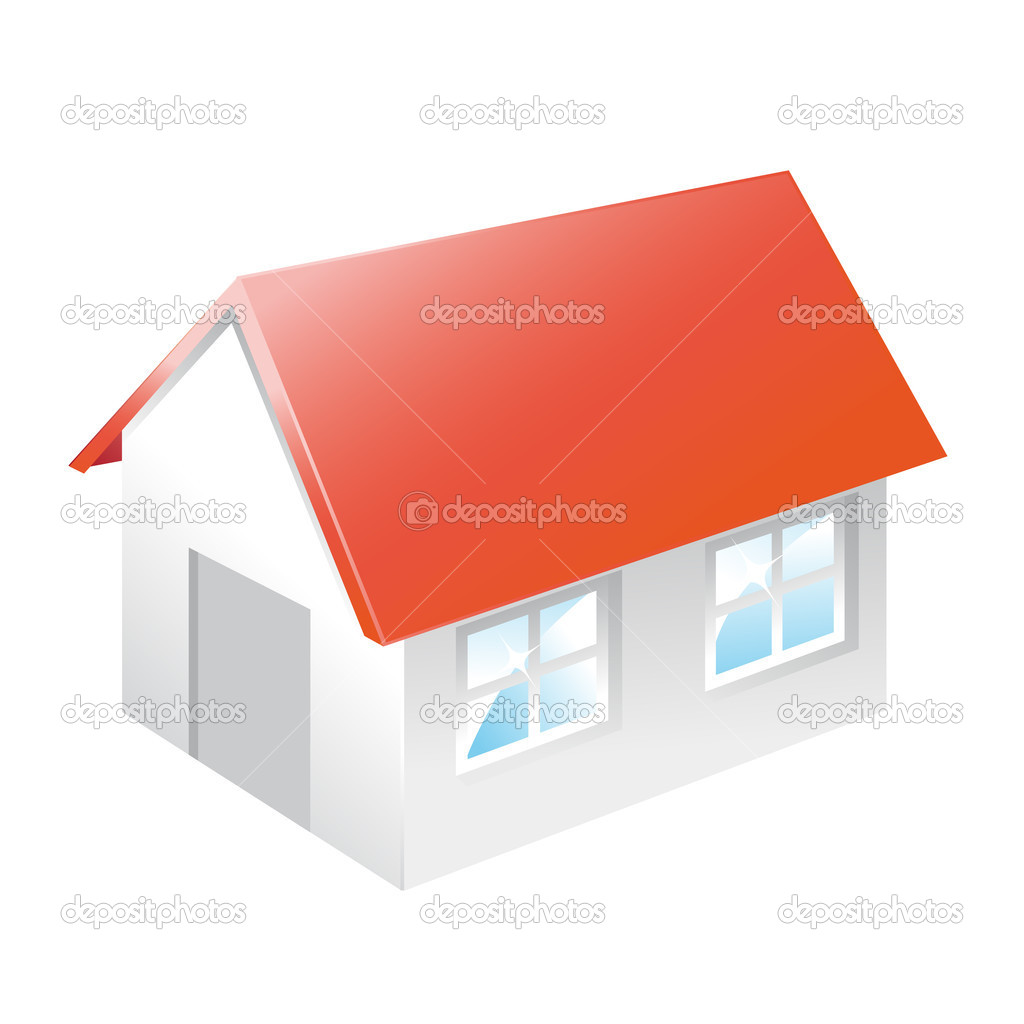 House with red roof. stock vector