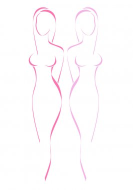 Women drawing a symbol