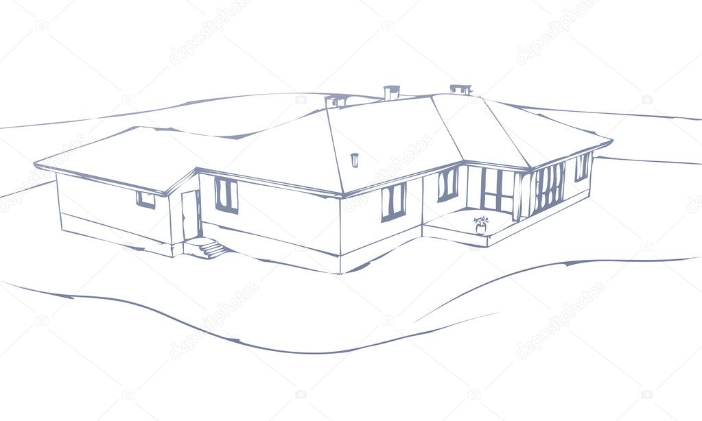Sketch the house on a white background. stock vector