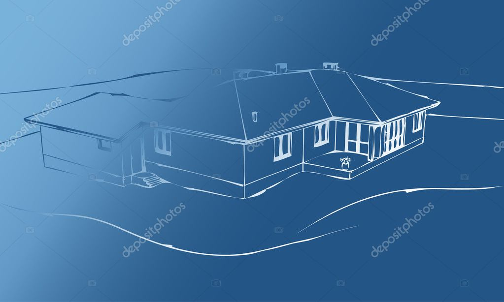 Sketch the house on a blue background. stock vector