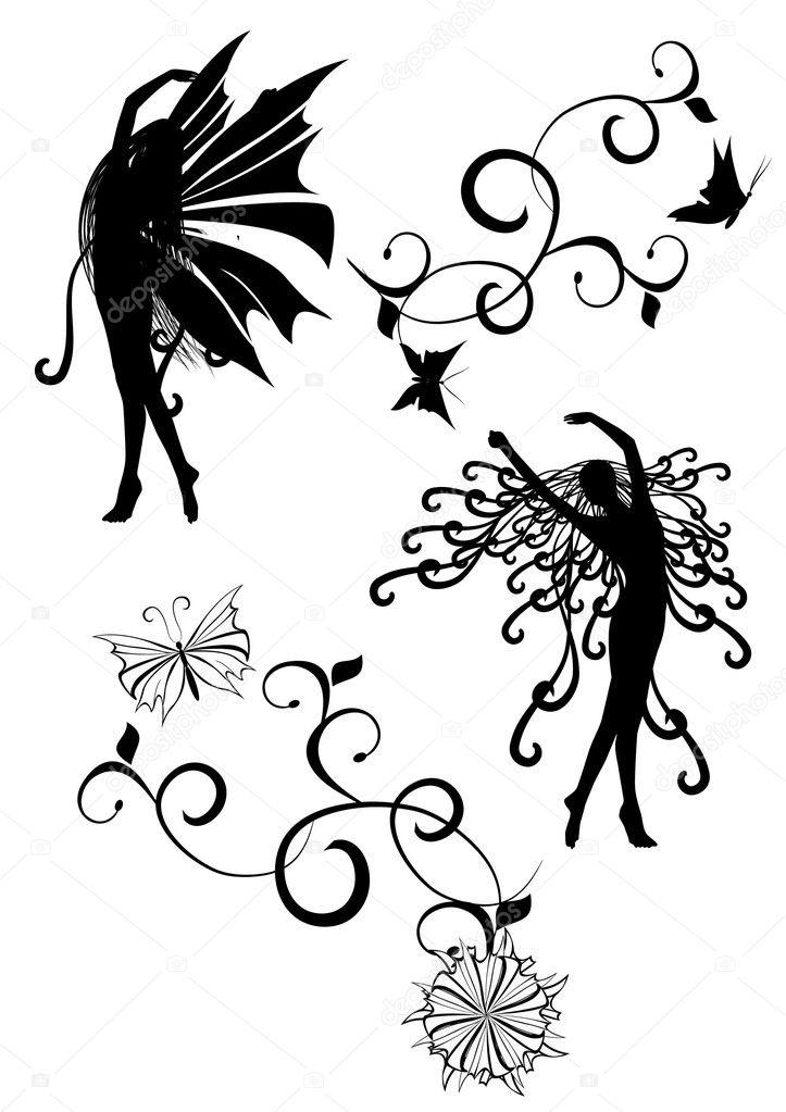 Black white siluette images