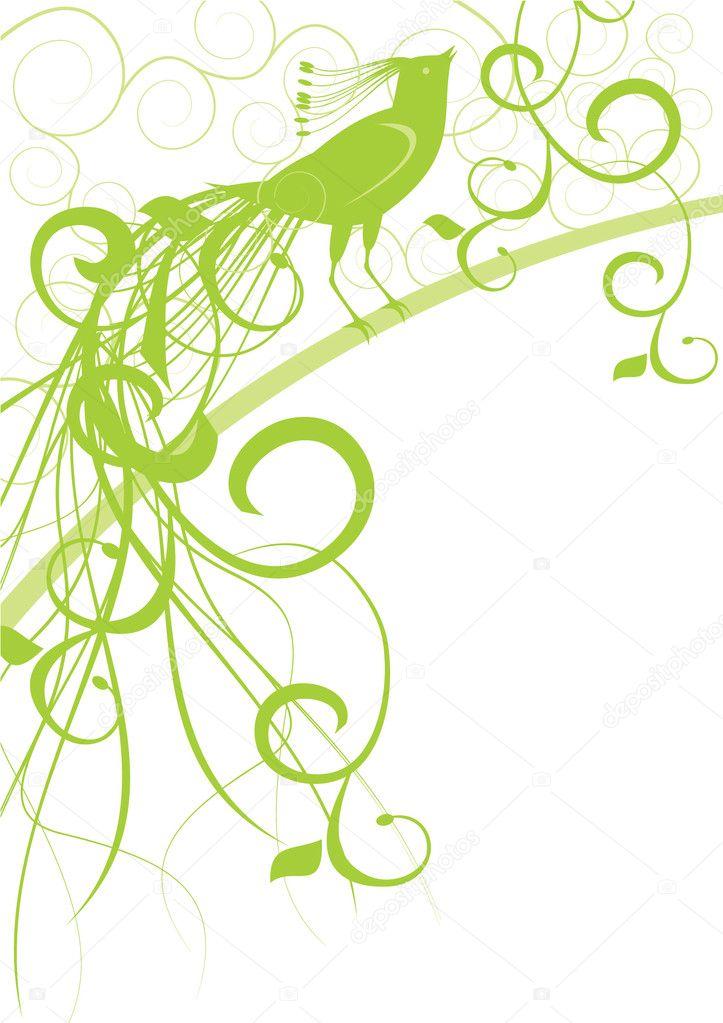 Green ornate bird