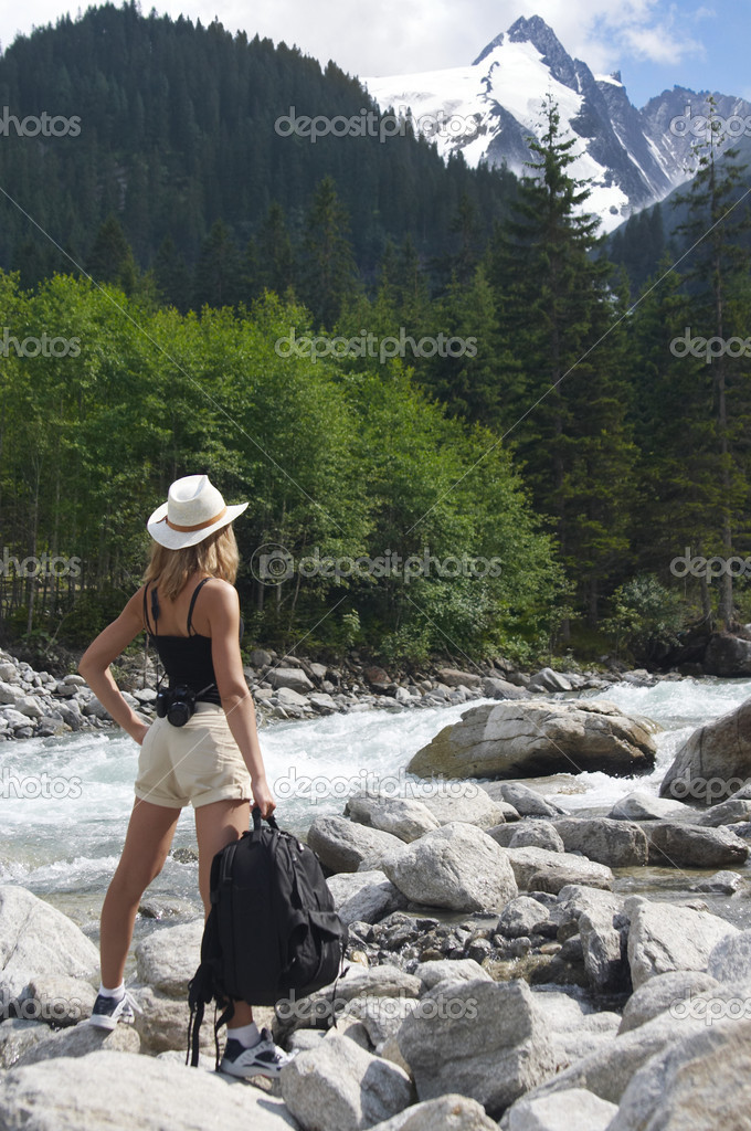 Woman in mauntains