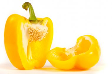 Close up of sliced yellow pepper