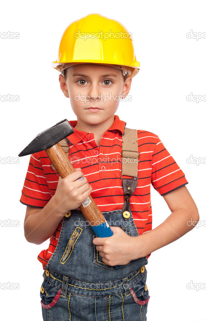 Little construction worker with hammer