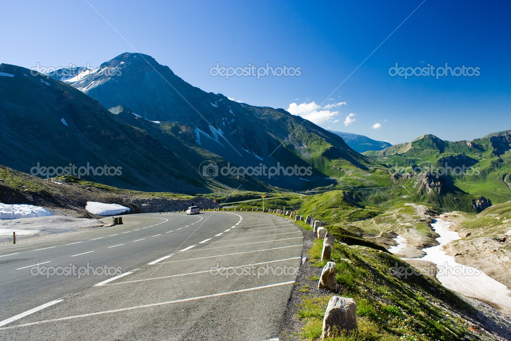 Road between mountains in Alps, Austria