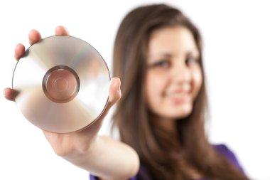 Woman holding dvd