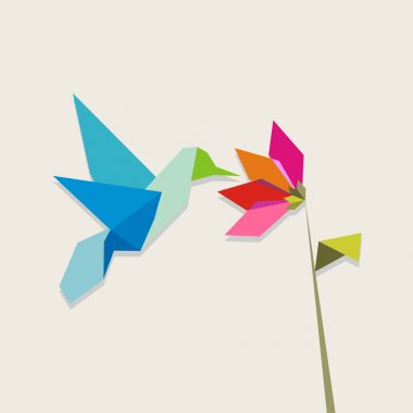 Origami hummingbird and flower