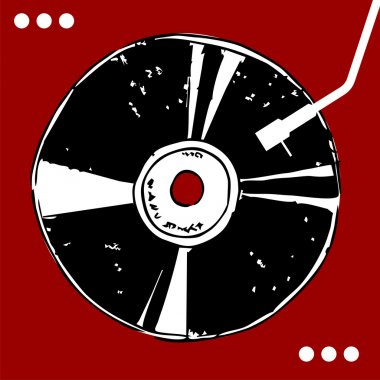 Vinyl disc on red background.