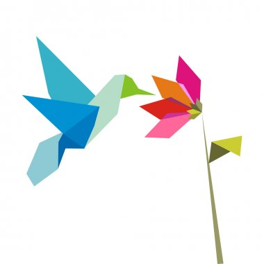 Origami flower and hummingbird on white