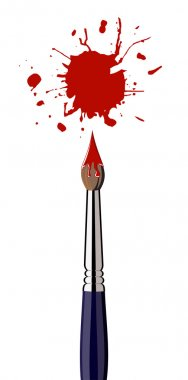 Paint brush with red color splash