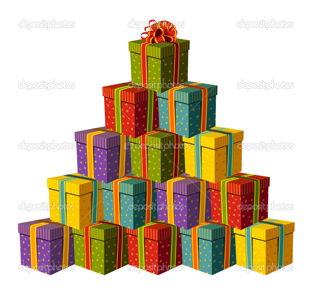 Gift boxes forming a Christmas tree — Stock Vector © cienpies #2123172