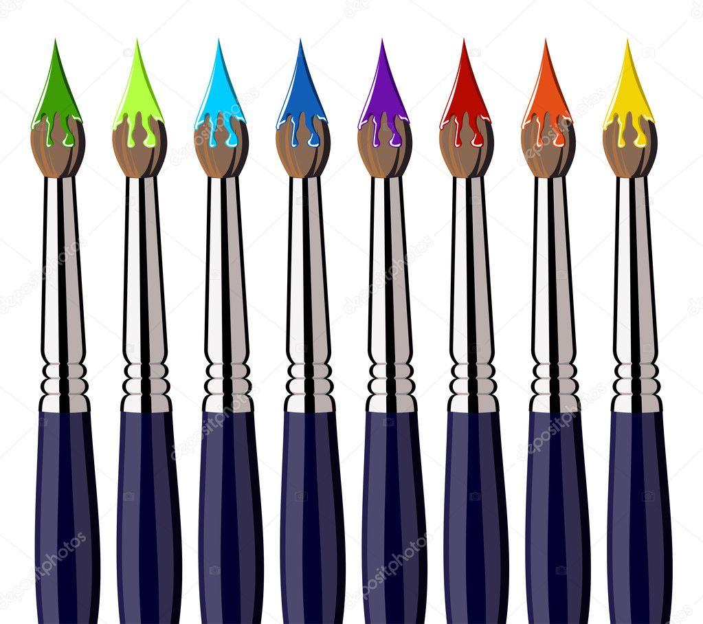 Pinceles para pintar con salpicaduras de color alineado - Paint para pintar ...