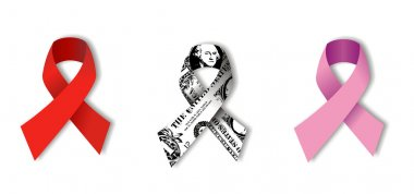 Aids, Dollar and Cancer Ribbons