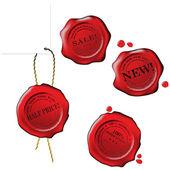 Sale wax stamp - vector set