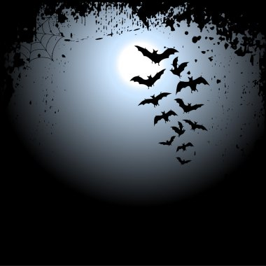 Halloween background with moon and bats