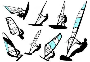 Windsurfing - vector set