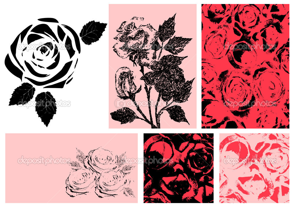 Vector illustration of roses. Design set