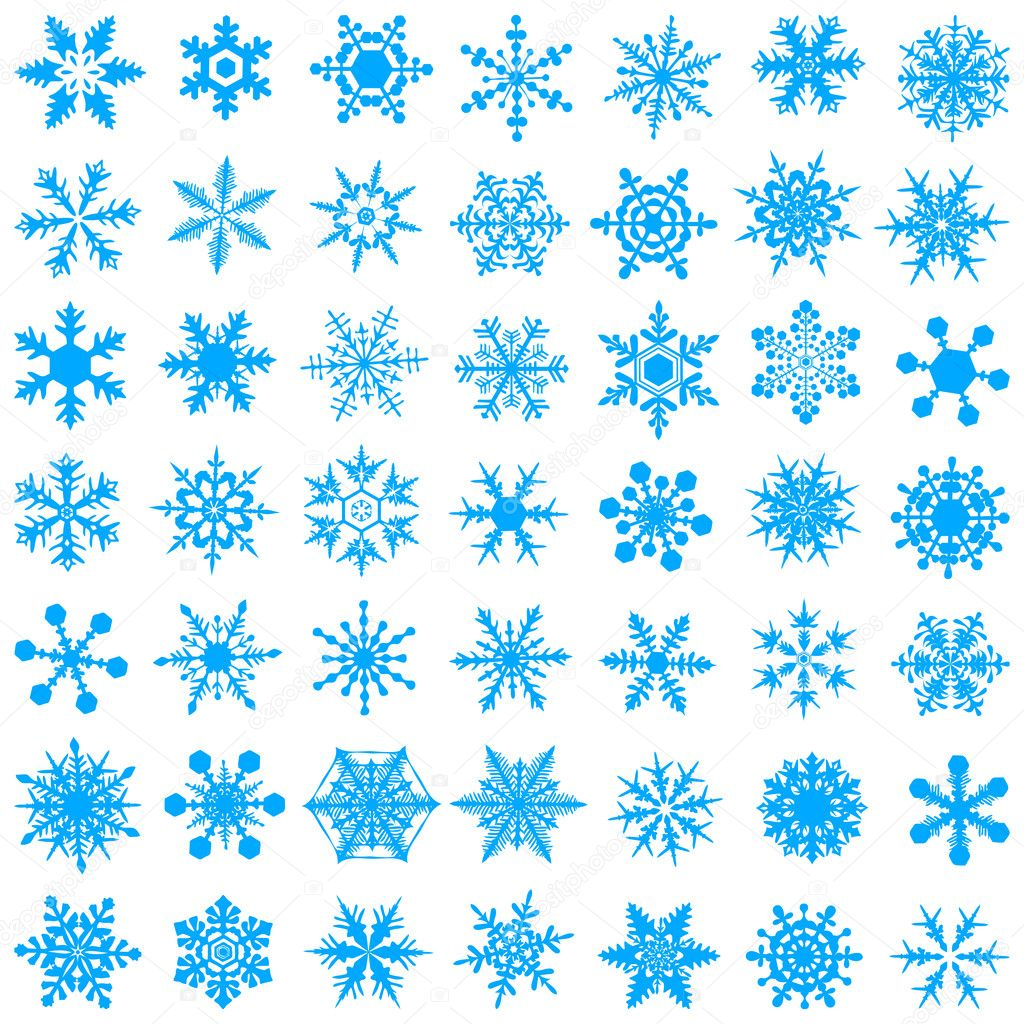 Cold crystal gradient snowflakes - vecto