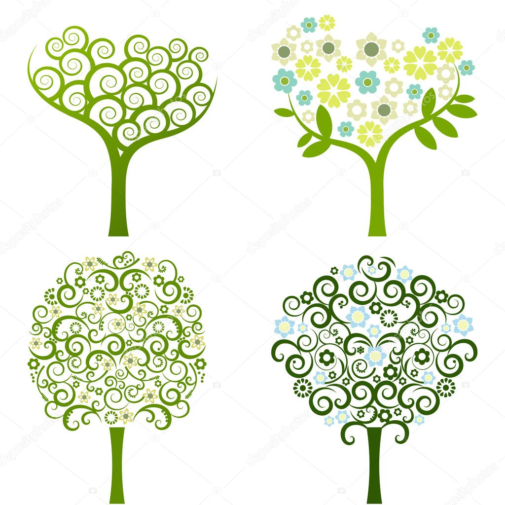 Abstract tree with flowers, vector set