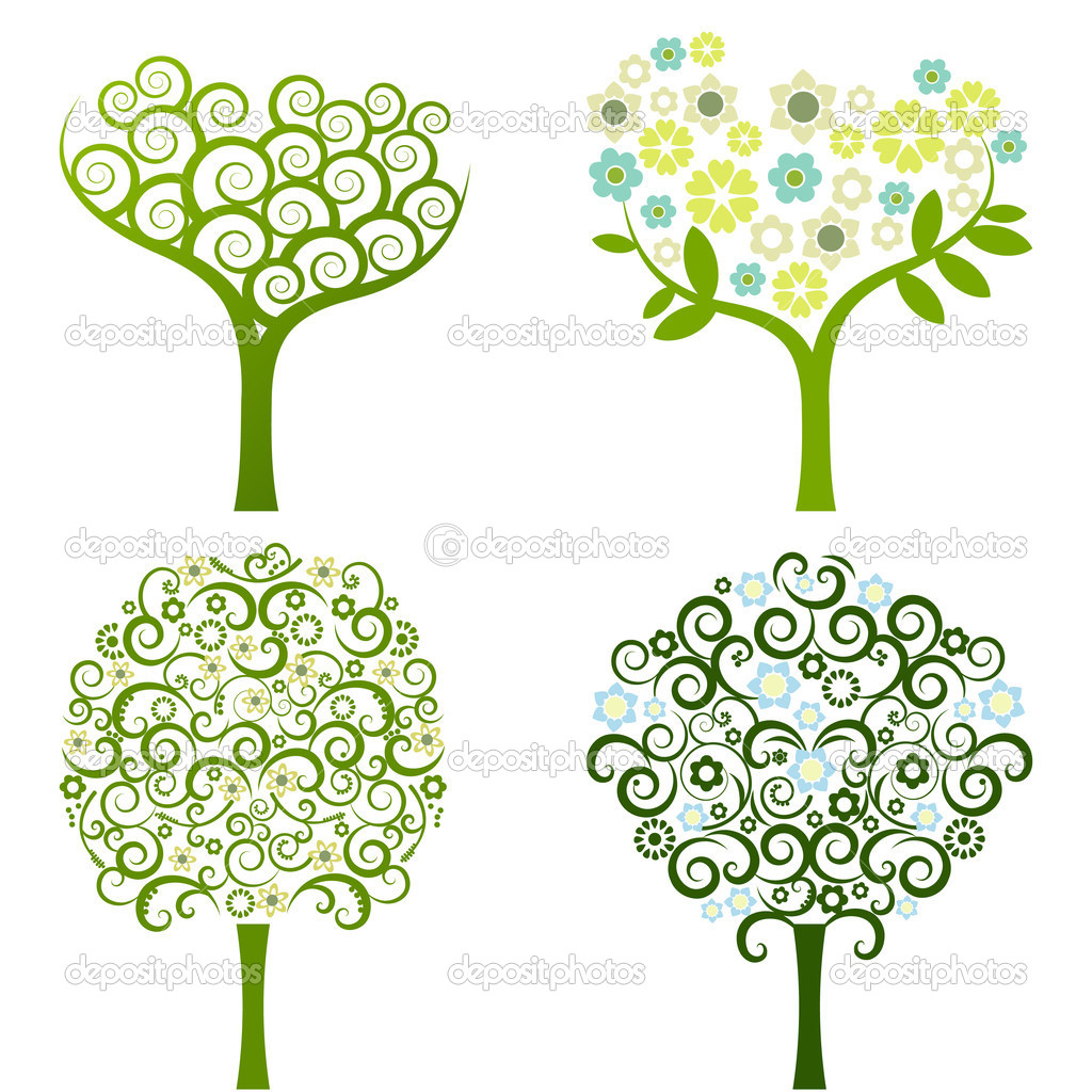 Abstract tree with flowers, vector set stock vector