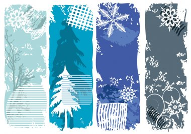 Winter banners, snowflakes