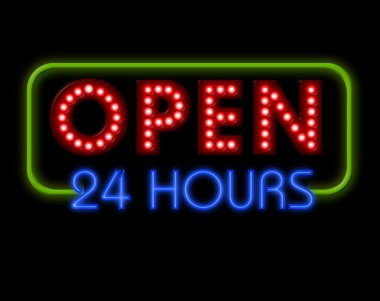 Open Neon Sign 24 hours