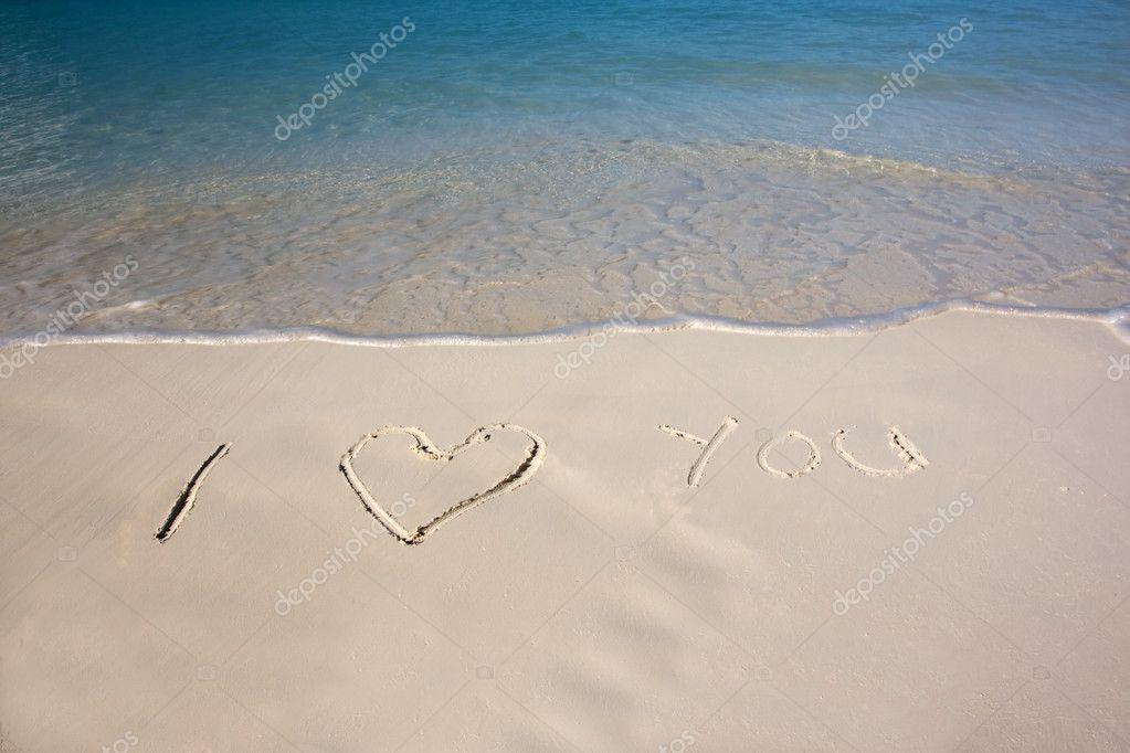 Eu Te Amo Escrito Na Areia Imagens De Stock Royalty Free: Mensagem De Dia Dos Namorados Na Areia