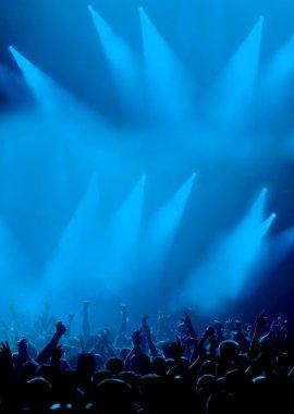 Nice blue lights and jubilant crowd