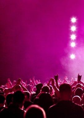 Magenta Concert Crowd With Stars